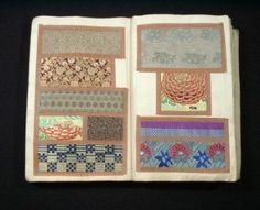 This is a RARE kinran fabric book set from Meiji 43(1911). Eight books are in the wooden box, and the age is written in the lid of the box.  These books are one of the books, which were inherited by an important family in Kyoto Nishijin.  Lots of kinran fabrics are collected and posted in eight volume books