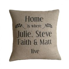 Personalised Home Is Where We Live Pillow Cover