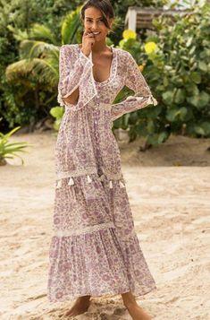 Miss-June Maxi Vintage Blue Dune Dress – OutDazl