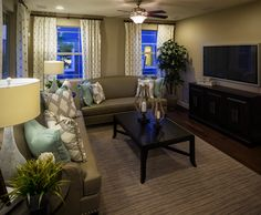 Living room in the Lawson model by Richmond American Homes in Cadence. Richmond American Homes, Backyard, Couch, How To Plan, Living Room, Model, Furniture, Home Decor, Patio