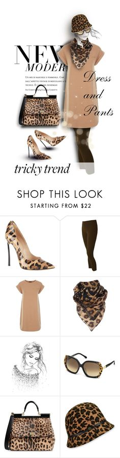 Tricky Trend: Dress and Pants by karlajkitty on Polyvore featuring Casadei, Dolce&Gabbana, Biba, Karen Kane, Roberto Cavalli and TrickyTrend