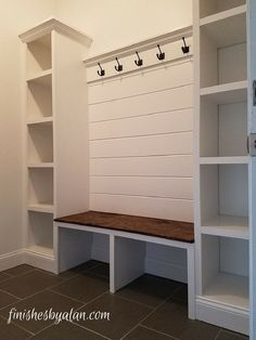 99 DIY Mudroom Organization Ideas Beautiful mudroom bench with shiplap back and dual side cubbies which are 16 inches deep! The old baseboards were re-purposed at the base of the cubbies and under the bench. Mudroom Laundry Room, Mud Room Lockers, Mudroom Storage Bench, Bedroom Storage, Mudrooms With Laundry, Storage Shelves, Entryway Storage, Mudroom Benches, Mudroom Cubbies