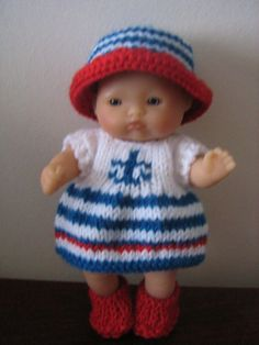"Hand Knitted Outfit for 5"" Berenguer Dolls"