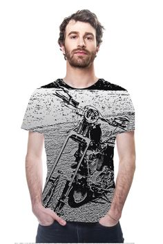 Silver Chopper By Lesa Fine, OArtTee specializes in creating amazing, vibrant and colorful Wearable Art #chopper #motorcycle #bike #menswear #shirt #tshirt #wearableart #designertshirt #tshirt #art #photography #photoart