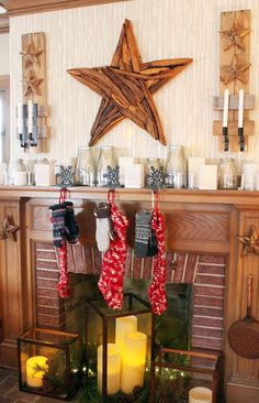 Love the fireplace candle arrangements...not just for the holidays!  Itsy Bits and Pieces: The Bachman's 2013 Holiday Ideas House...