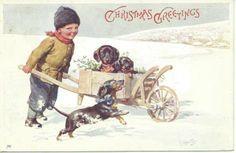 K Feiertag Boy Pushes Cart of Dachshunds Through Snow Vintage Christmas Cards, Vintage Cards, Vintage Postcards, Vintage Dachshund, Vintage Dog, Vintage Style, Winter Christmas, Christmas Crafts, Merry Christmas