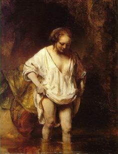 Rembrandt, A Woman Bathing in a Stream (Hendrickje Stoffels?), oil on panel, 1654 (London: National Gallery). Included in room 5 ('Intimacy') of the exhibition Rembrandt: The Late Works (Fall Rembrandt Art, Rembrandt Paintings, Baroque Painting, Baroque Art, List Of Paintings, Art Paintings, Acrylic Paintings, Animal Paintings, Art Occidental