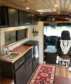 This Converted Sprinter Van is a Surprisingly Livable Tiny House on Wheels - Van Life Van Conversion Interior, Camper Van Conversion Diy, Van Interior, Motorhome Interior, Rv Interior Remodel, Van Conversion Bed Ideas, T4 Camper Interior Ideas, Van Conversion Designs, Van Conversion Kitchen