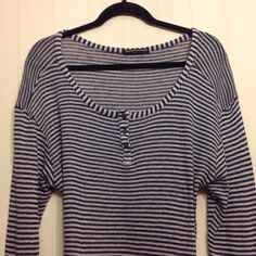 Brandy Melville Long Tee Long sleeved scoop neck tee by Brandy Melville. Size small but seems to fit medium. Navy Blue & white stripes. Good stretchy clothing piece that you can wear in a million ways!  Under a sweater, under a vest, over a crisp white shirt, with high waist jeans, pencil skirts, jewelery, scarfs, belts etc etc. Great designer piece was made in Italy and made of wool/ cotton blend. Great top to fit in your already fabulous wardrobe ! Brandy Melville Tops Tees - Long Sleeve