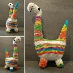 Blair, made for TheLoopyCat Etsy shop. Pattern adapted from Rebecca Danger's knitted pattern of Basil the Boogie-woogie Brontosaurus.