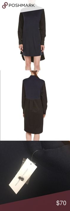 French Connection Navy and Black Naomi Shirt Dress ✨BRAND NEW WITH TAGS ✨Combining A Stretchy Fine-Knit Front With Crisp Back And Sleeves. The Naomi Knitted Poplin Dress Gives The Illusion Of A Perfectly Layered Look. Wear This Silhouette-Elongating Style with Masculine Brogues or Feminine ankle boots! Size Extra Small. French Connection Dresses Midi