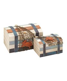 Take a look at this Curve Lid Stripe Wood Box Set by UMA Enterprises on #zulily today!