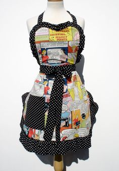 Retro Apron Vintage Inspired 1950s  Comic Apron FREE SHIPPING on Etsy, $36.95