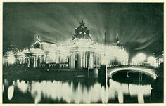 The Palace of Electricity at night.