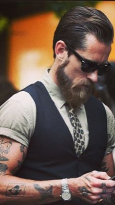 Hipster beard. Plus the leopard tie! Like come on;)