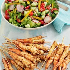 Seafood on a stick!  Dukkah dusted prawns with fresh salad - is this the perfect summer meal?