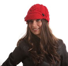 Knit Red Hat The Red Jockey Cap Wool Hat Hand Knitted by Solandia
