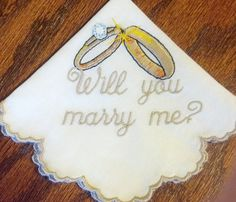 Will You Marry Me Embroidered Handkerchief by cajunstitchery, $20.00