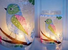 Napkin decoupaged onto glass