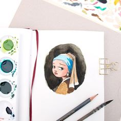 A little warm up sketchbook painting from this morning. About to sit down and watch the Girl with the Pearl Earring again. Also thanks for your 'my story' sketch votes. stay tuned for tomorrows post 😉 Fun Illustration, Watercolor Illustration, Watercolor Art, Watercolor Sketchbook, Art Sketchbook, Character Drawing, Character Design, Girl With Pearl Earring, Estilo Disney
