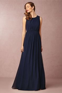 Eloise in navy blue bridesmaid dress from BHLDN