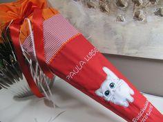 Inspiration für den Schulanfang und die Einschulung: Schultüte Zuckertüte Einschulung rot orange Katze / inspiration for the first day of school made by LOTTANELLI via DaWanda.com