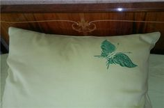 pillow with fantastic butterfly embroidery
