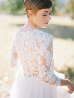 Love the bold lace sleeves on this wedding gown. | 20 Stylish Wedding Dresses with Sleeves from Etsy via @SouthBoundBride