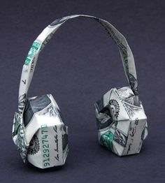 Money Origami Head Phones