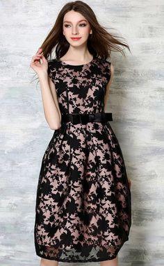 871c950dde743a Exclusive Black Floral Lace Midi dress