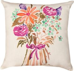 Manual Woodworkers and Weavers Reversible Indoor/Outdoor Decorative Square Throw Pillow by Julia Minasian, 18-Inch, Spring Bouquet in Pink by Manual Woodworker, http://www.amazon.com/dp/B00D08WFSO/ref=cm_sw_r_pi_dp_olZ1rb1D4AMGC
