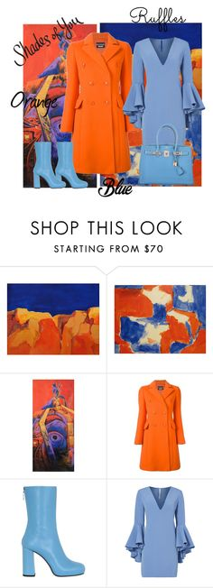 """""""Shades of orange and blue"""" by outfitsloveyou ❤ liked on Polyvore featuring NOVICA, Boutique Moschino, MSGM, Milly and Hermès"""