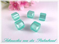 Polarisperlen - 5 Polaris Würfel 8x8 mm glänzend, Farbe mint - ein Designerstück von Perlenbraut- bei DaWanda