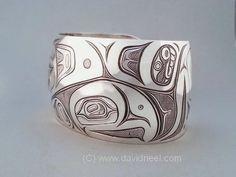"Salmon Bracelet in sterling silver, 1.5"" wide. #northwestNativeIndianArt #PacificNorthwestCoastNativeJewelry"