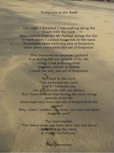 """""""Footprints in the Sand"""": Favorite Poem!"""