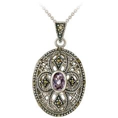 Keep a treasured photo of someone you love close to your heart with this ovular sterling silver locket-style pendant. This dazzling necklace features an amethyst set among marcasite accents and hangs from an 18-inch chain.