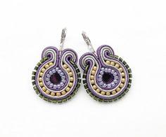 Purple and Yellow Earrings Light Purple Earrings by BeadsNSoutache