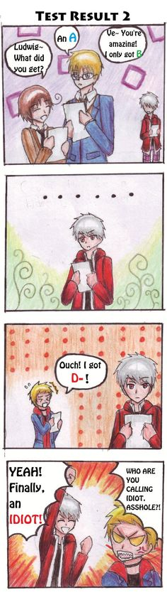 FBN Test Result part 2 by BlueStorm369.deviantart.com on @deviantART - Second page in a fancomic set at Gakuen Hetalia. Looks like Gilbert's finally found someone who did worse than him on the test: Arne (head-canon name for Denmark).