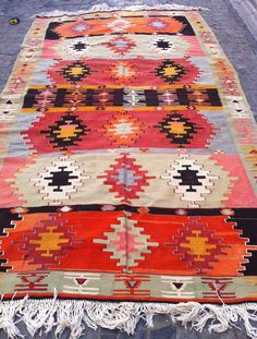 VINTAGE Turkish Kilim Rug Decorative Pastel Orange by Sheepsroad