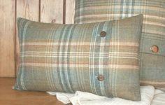Pure Wool Tweed / Plaid / Tartan Cushion / Lumbar Throw Pillow Cover - Soft Green Tartan - Handmade in UK - Hunting Lodge - 20 x 12 by maisiev on Etsy