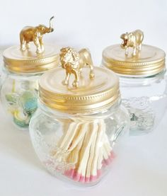 Set of 3 Jungle Animal Jars gold home decor by LittleJarCreations