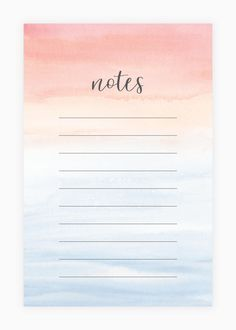 Ipad Notes Discover Notepad - Watercolor Notepad - Desk Accessory Note Pad Painted Pink and Blue Ombre Watercolor Wash To Do Planner, Planner Pages, Budget Planner, Colorful Notes, Memo Notepad, Note Memo, Daily Planner Printable, Good Notes, Bullet Journal Ideas Pages