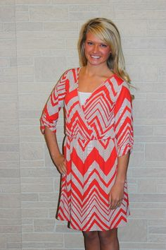 Quarter Sleeve Chevron Dress, $46.00