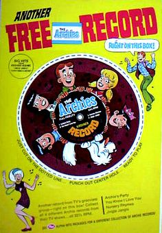 The Archies Post Cereal Box Record    NOTE: Eat cereal BEFORE punching out record.
