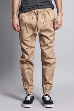 Non-Stretch Twill Jogger Pants Jogger Pants Outfit, Mens Jogger Pants, Cuffed Joggers, Men Trousers, Khaki Pants, Man Dress Design, Summer Fashion For Teens, Drawstring Pants, Men Dress