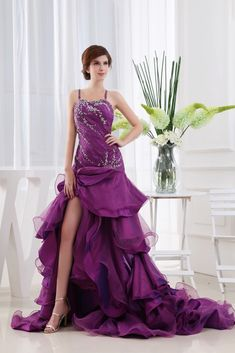Glamorous Sweetheart Floor-Length Tiered Dress, Tiered Ruffle Prom Gown, Eggplant Purple Dresses Pleated Bust, Long Pleated Evening Dress, Organza Split Front A-Line With Bodice Detail | Linda Dress