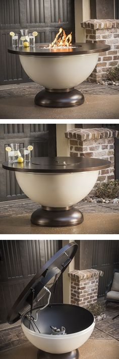 The lid on this fire pit easily opens for quick propane tank access; and with a locking cover, your media stays right in place! | Enchanted Bowl Gas Fire Pit Table | WoodlandDirect.com