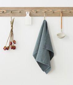 Blue Fog Washed Linen Tea Towel