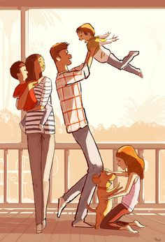 Adorable Illustrations By Pascal Campion That Will Surely Make Your Day Family Illustration, Illustration Art, Family Sketch, Pascal Campion, Familia Anime, Illustrations, Cute Art, Amazing Art, Art Reference