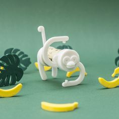 """If you don't already know the amazing designers""""UAU Project"""", here is the concept ofCork Pals. Cork Pals are toys that utilize 3D printing and recycling. Use a wine cork to connect two 3D printed pieces and there you have it: a funky Monkey is standing before you. So crazy :) :)"""